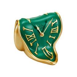 Ceas Birou MELTING TIME Auriu - Verde