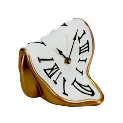 Ceas Birou MELTING TIME Auriu - Alb