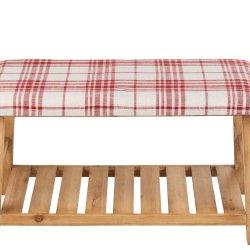 Banchetă Lemn + Material Textil Maro Natural - Roșu