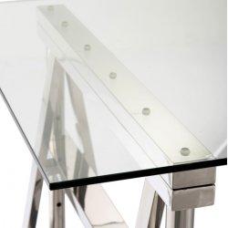 Birou Reglabil Oțel Inoxidabil + Sticlă Argintiu - Transparent