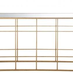 Consolă Bare Metalice + Sticlă Auriu