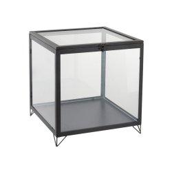 Cutie Pătrat Sticlă + Metal Negru - Transparent