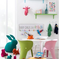 Cuier 6 Cârlige Child Lemn Alb - Multicolor