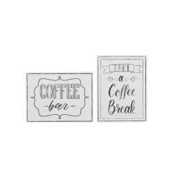 Pancarte COFFEE 2 Piese Metal Alb