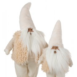Figurină Moș Crăciun Textil Bej L