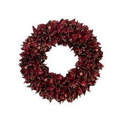 Ghirlanda Frunze Roșu Intens - Sclipici Auriu