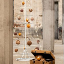 Globuri Crăciun Sticlă + Catifea 4 Piese Ocru - Auriu M