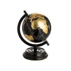 Glob Pământesc Decorativ Lemn Negru - Auriu S