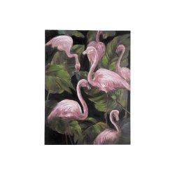 Tablou Flamingo Roz - Verde - Negru