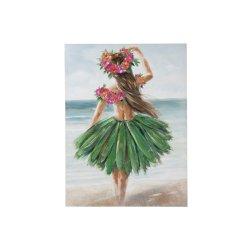 Tablou Femeie Hawaii Albastru - Verde - Multicolor