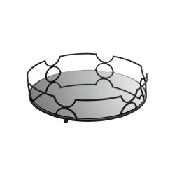 Tavă Rotundă Oglindă Metal Negru