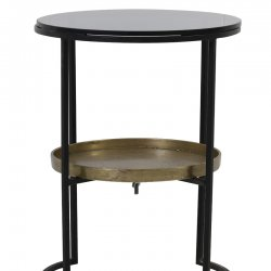 Măsuță Laterală ROWDY Sticlă Negru - Bronz Antichizat