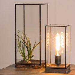 Veioză Birou ASKJER Lemn + Sticlă Maro - Negru