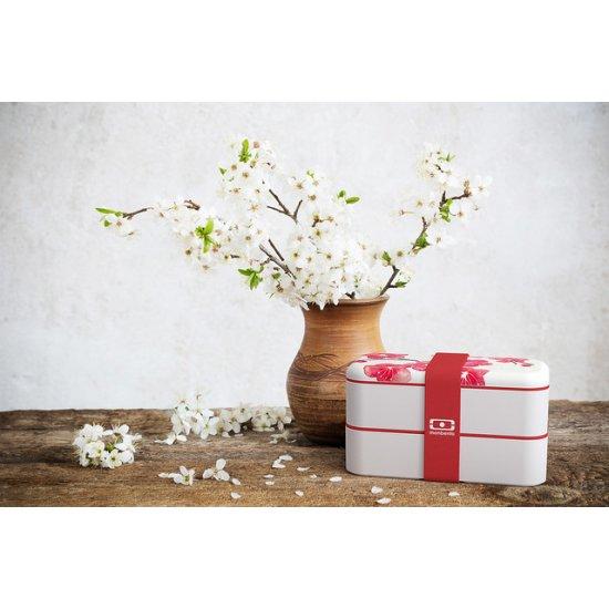 Caserolă Mâncare BENTO MB ORIGINAL Flori Cireș Alb - Roșu