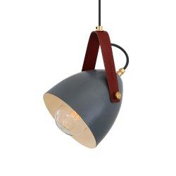 Lampă suspendată LAMBETH Gri Curea Roșie IP65