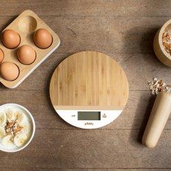 Cântar de bucătărie Bambus Rotund