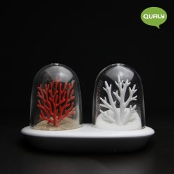 Set Solnițe Sare + Piper ALBIREA CORALIOR Alb - Roșu