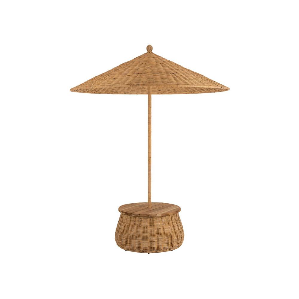 Umbrela + Masa + Cos depozitare Ratan/Tec Lemn Natural koomood 2021