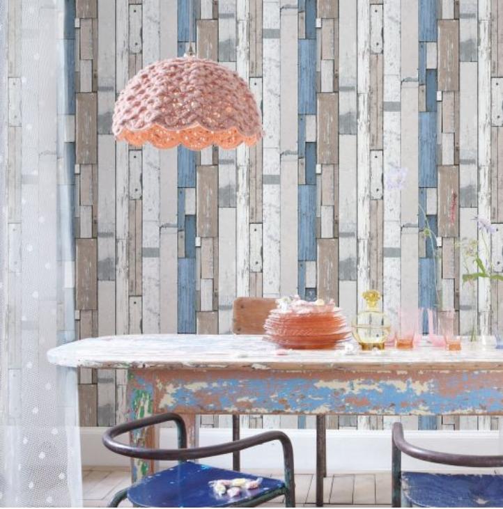 Tapet lemn palet alb-albastru koomood 2021