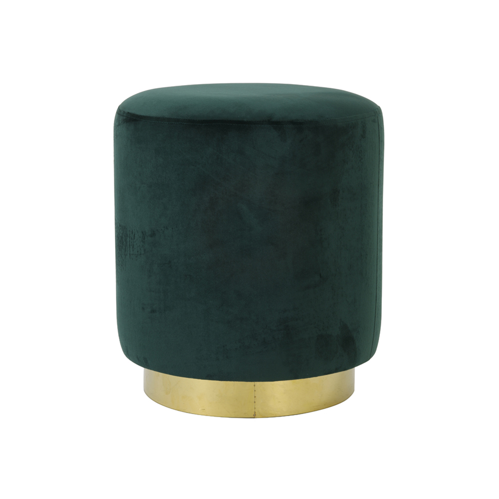 Taburet NADIEN Catifea verde inchis + Auriu Light & Living
